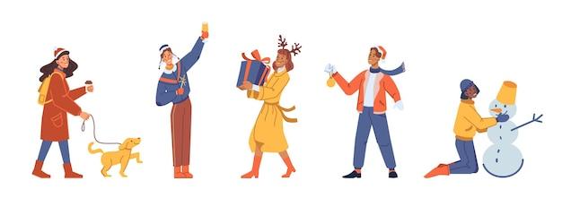 Les gens du nouvel an définissent des personnages de dessins animés plats isolés vecteur femme en manteau chaud se promène avec un homme chien