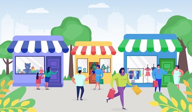 Les gens du shopping dans les rues avec des sacs et des cadeaux des magasins discounters, les ventes, l'illustration du concept vendredi noir.