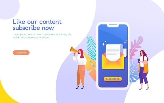 Les gens du système de marketing par e-mail utilisent un smartphone et s'abonnent et reçoivent la newsletter