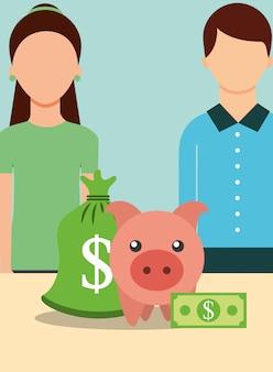 Les gens économiser de l'argent