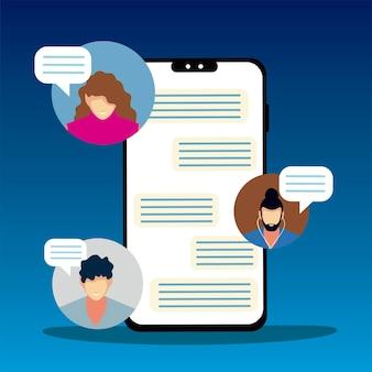 Les gens de l'écran du smartphone discutent des bulles d'application illustration vectorielle