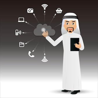 Les gens élégants arabehomme d'affaires cloud computing