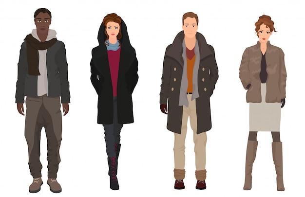 Gens élégants de la mode automne-hiver