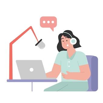 Les gens enregistrent un podcast
