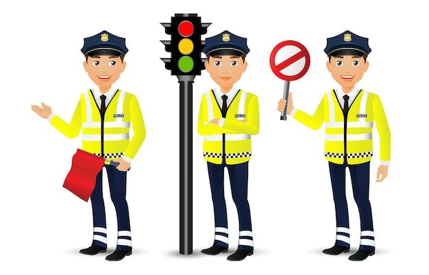 Gens ensemble profession agent de la circulation