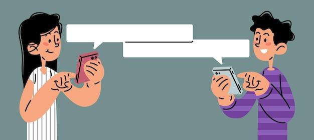 Les gens envoient des sms sur l'illustration vectorielle de téléphone