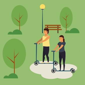 Gens, équitation, scooter, à, parc