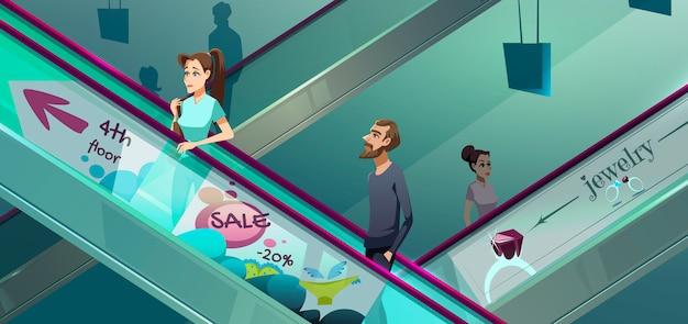 Les gens sur les escaliers mécaniques dans le centre commercial