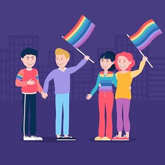 Les gens étant heureux et tenant le drapeau lgbt