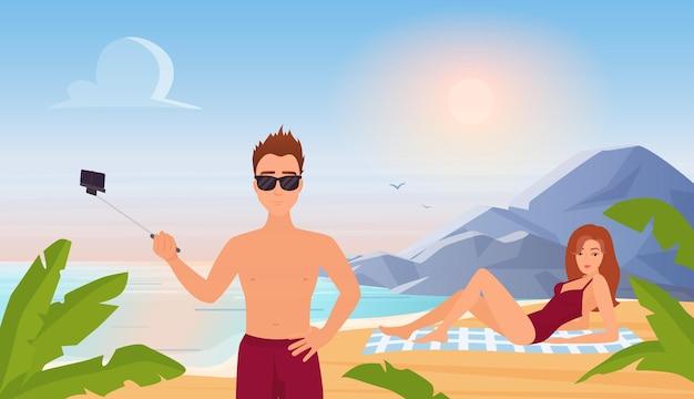 Les gens en été voyagent vacances plage tropicale paysage homme tenant un bâton de selfie