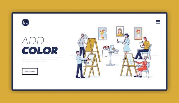Les gens étudient la créativité et les talents de l'école d'art pour peindre