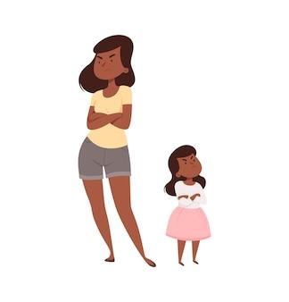 Les gens fâchés. mère et fille en querelle.