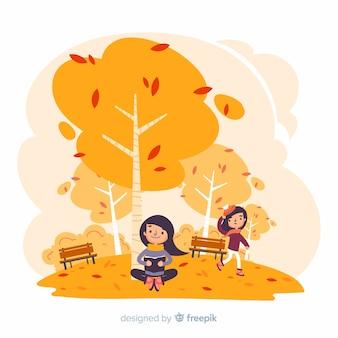 Gens, faire, activités, dans, automne, parc