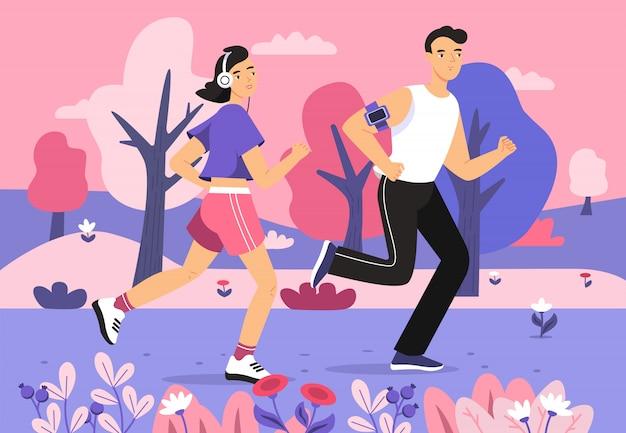 Gens, faire du jogging, dans parc, illustration, de, jeune homme, et, femme, courant, sport, marathon