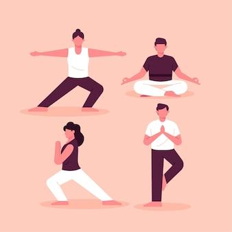 Gens, faire, yoga, concept
