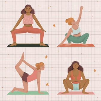 Gens, faire, yoga, illustration