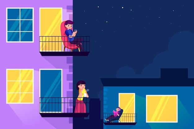 Gens faisant des activités de loisirs sur le balcon