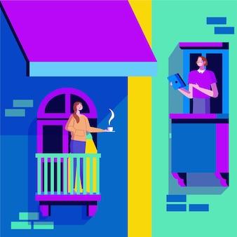 Gens faisant des activités de loisirs sur les balcons