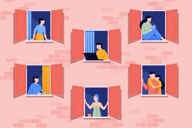 Gens faisant des activités de loisirs sur les fenêtres