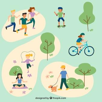 Gens faisant des activités de loisirs en plein air avec un design plat