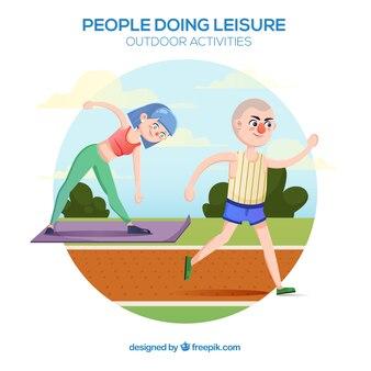 Gens faisant des activités de plein air de loisirs