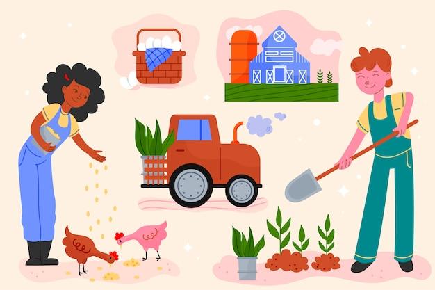 Gens faisant des activités quotidiennes à la ferme