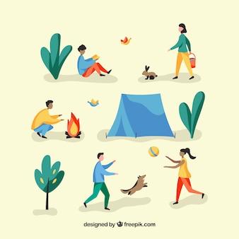Gens faisant des activités de plein air avec un design plat