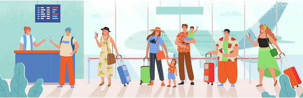 Les gens faisant la queue à la réception. hommes et femmes avec bagages en attente de départ en avion. illustration de dessin animé dans le style.
