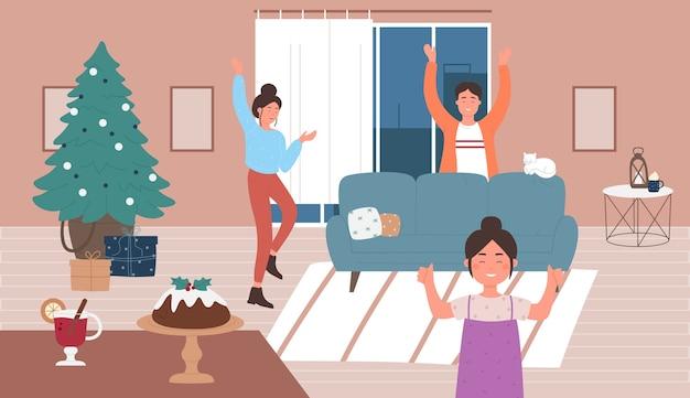 Les gens de la famille heureuse célèbrent la saison de joyeux noël à la maison