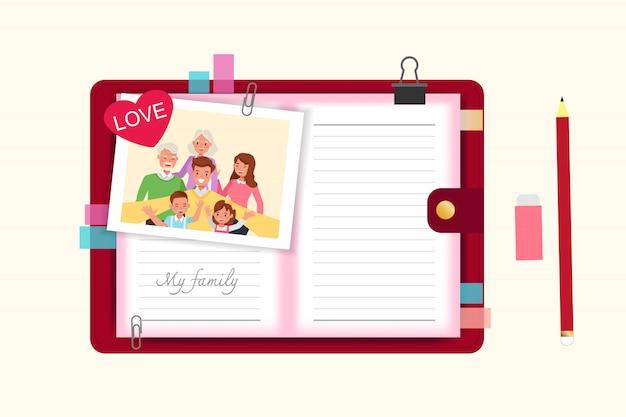Gens de famille heureux mère, père, grands-parents et enfants ensemble caractère.