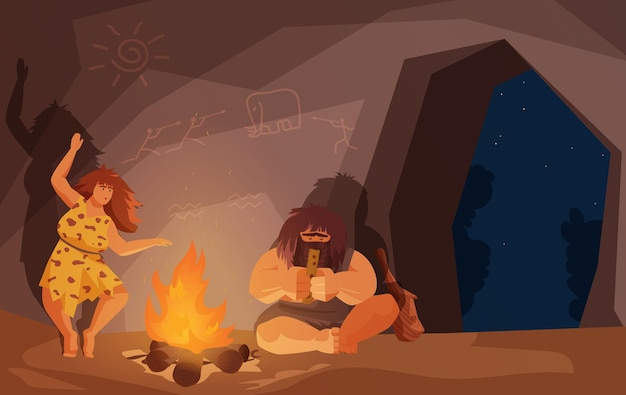 Les gens de la famille primitive de l'âge de pierre s'assoient par le feu homme des cavernes jouant de la musique femme dansant