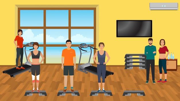Les gens de fitness dans les vêtements de sport dans la salle de gym avec des appareils d'entraînement. personnages sportifs. mode de vie sain.