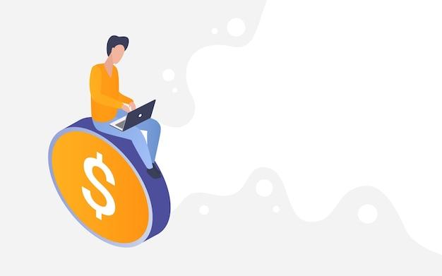 Les Gens Font De L'argent En Ligne Finance Profit Investissement Croissance Fond Isométrique Vecteur Premium