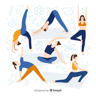Les gens font la collection de yoga