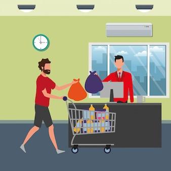 Les gens font les courses au supermarché