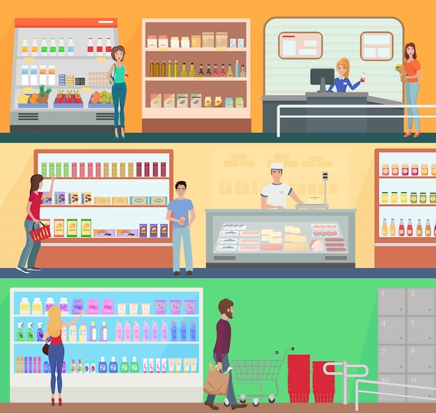 Les gens font les courses dans un supermarché