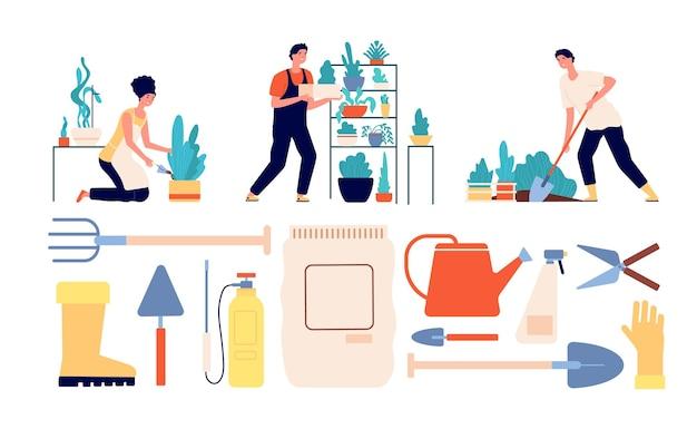 Les gens font du jardinage. femme jardinière, outils agricoles. jardiniers, récolte et agriculture