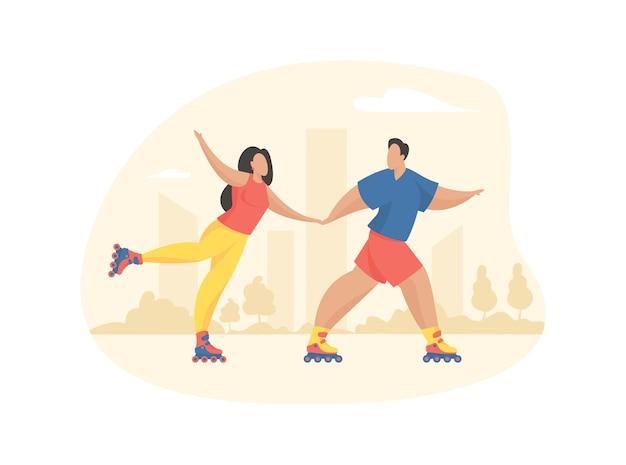 Les gens font du patin à roues alignées dans le parc. l'homme et la femme joyeux montent la route d'été d'asphalte tenant des mains