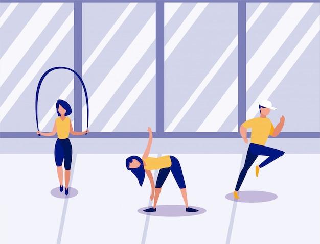 Les gens font de l'exercice à la maison