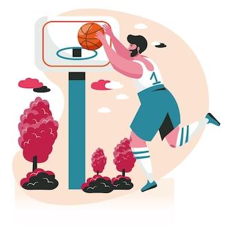 Les gens font leur concept de scène de passe-temps préféré. l'homme en uniforme de sport apprend à jouer au streetball. joueur de basket-ball s'entraînant avec des activités de ballon. illustration vectorielle de personnages au design plat