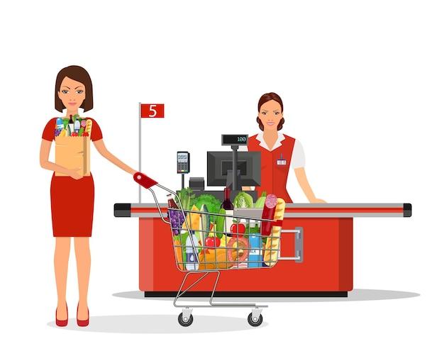Les gens font leurs courses au supermarché.