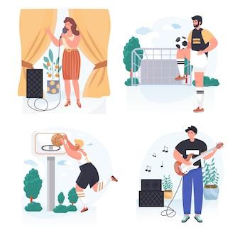Les gens font leurs scènes de concept de passe-temps préférées définissent une illustration vectorielle de personnages