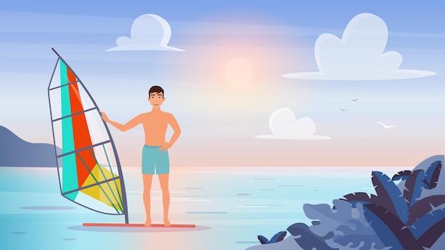 Les gens font de la planche à voile sports nautiques extrêmes jeune touriste sportif véliplanchiste homme planche à voile