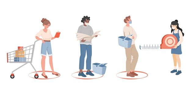 Les gens font la queue et gardent une distance sociale sûre dans l'illustration plate de la boutique. maintenez la distance sociale.