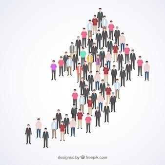 Les gens formant une flèche vers le haut