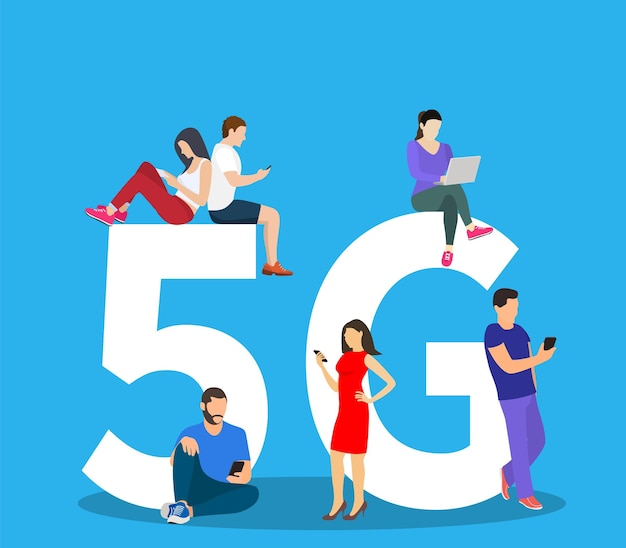 Les gens avec des gadgets assis sur le grand symbole 5g.
