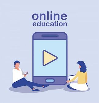 Les gens avec des gadgets technologiques, éducation en ligne