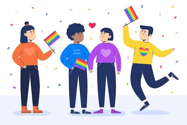 Gens gais avec des drapeaux et des confettis