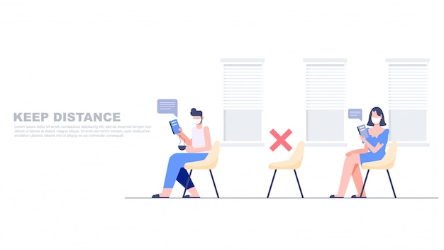 Les gens gardent une distance dans la zone publique et donnent droit à une chaise vide en ligne. concept de distanciation sociale. nouveau style de vie normal après covid-19