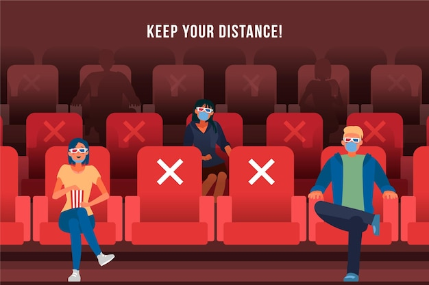 Les gens gardent une distance sociale au cinéma